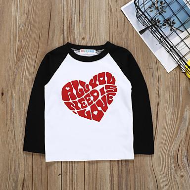 baratos Blusas para Meninas-Infantil Bébé Para Meninas Activo Básico Geométrica Estampado Estampado Manga Longa Algodão Camiseta Preto