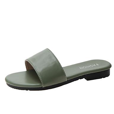 voordelige Damespantoffels & slippers-Dames Slippers & Flip-Flops Platte hak PU Zomer Zwart / Beige / Groen