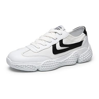 Erkek Ayakkabı PU Yaz / Sonbahar Sportif / Günlük Atletik Ayakkabılar Koşu / Yürüyüş Atletik / Günlük için Siyah ve Beyaz / Beyaz