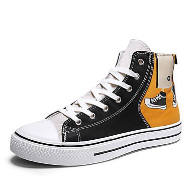 Erkek Ayakkabı Kanvas İlkbahar yaz İngiliz / Çıtı Pıtı Spor Ayakkabısı Günlük / Dış mekan için Siyah / Sarı / Turuncu & Siyah / Bej
