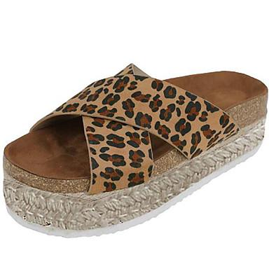 voordelige Damespantoffels & slippers-Dames Slippers & Flip-Flops Sleehak PU Zomer Zwart / Luipaard / Donker Bruin