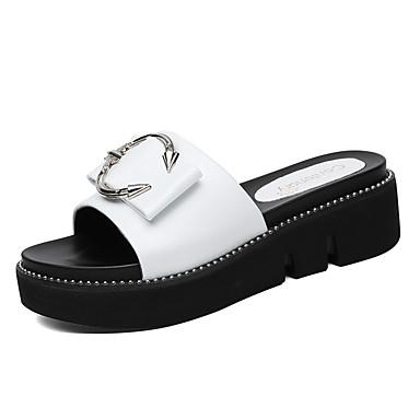 voordelige Damespantoffels & slippers-Dames Slippers & Flip-Flops Creepers Synthetisch Zoet / minimalisme Lente & Herfst / Zomer Wit / Zwart