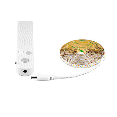 billige LED Strip Lamper-3M Fleksible LED-lysstriper / Smart Lights 30 LED SMD2835 1 x PIR Sensor Varm hvit / Kjølig hvit Kreativ / Dekorativ / Selvklebende Batterier drevet 1pc