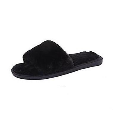 voordelige Damespantoffels & slippers-Dames Slippers & Flip-Flops Platte hak Konijnenbont Lente zomer / Herfst winter Roze / Khaki / Bordeaux