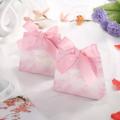 abordables Support de Cadeaux pour Invités-Taper Shape Papier durci Titulaire de Faveur avec Ruban Boîtes Cadeaux - 50 Pièces