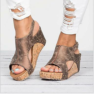 Kadın's Sandaletler Dolgu Topuk Yuvarlak Uçlu Toka PU Yaz Siyah / Kahverengi / Bej