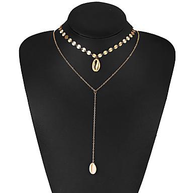 billige Mote Halskjede-Dame lagdelte Hals Multi Layer Skall Chrome Gull 35.8 cm Halskjeder Smykker 1pc Til Gate Klubb