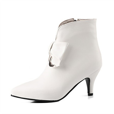 povoljno Ženske čizme-Žene Čizme Fashion Boots Stožasta potpetica Krakova Toe Mašnica PU Čizme gležnjače / do gležnja Jesen zima Obala / Crn / Fuksija