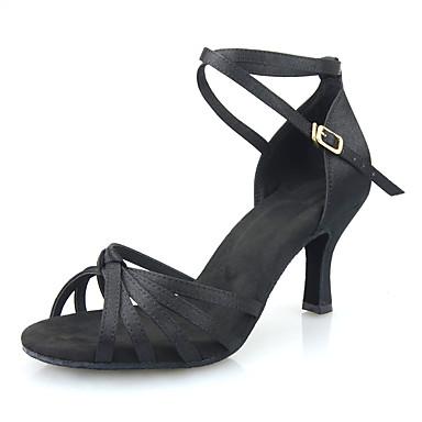 Kadın's Saten Latin Dans Ayakkabıları Topuklular Kıvrımlı Topuk Kişiselleştirilmiş Siyah