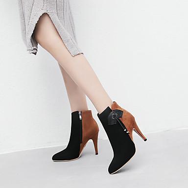 Kadın's Çizmeler Külah Topuk Sivri Uçlu Püsküllü Süet Bootiler / Bilek Botları Çin Stili Sonbahar Kış Pembe / Kahverengi / Parti ve Gece / Zıt Renkli