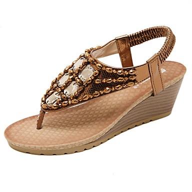 voordelige Damespantoffels & slippers-Dames Slippers & Flip-Flops Sleehak Ronde Teen Strass PU Zomer Goud / Zilver / Koffie