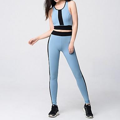 Kadın's Yoga Pantolonları Tozlu Mavi Spor Dalları Zıt Renkli Bisiklet Tayt Alt Giyimler Fitness Aktif Giyim Nefes Alabilir Hızlı Kuruma Pochłanianie potu Popo Kaldırma Streç Dar