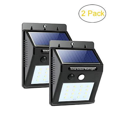 billige Utendørsbelysning-zdm 2stk vanntett ledet solsensorlys utendørs superlys 20 lysdioder kaldhvit med bevegelsesaktivert auto av / på