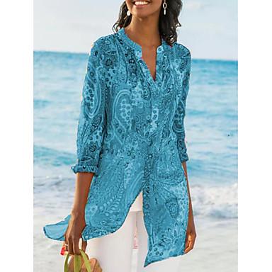 ราคาถูก สินค้ามาใหม่-สำหรับผู้หญิง เสื้อสตรี Street Chic ลายพิมพ์ คอวี รูปเรขาคณิต สีน้ำเงิน US8 / UK12 / EU40