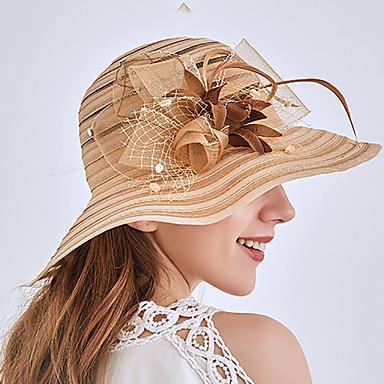 abordables Coiffes-Tulle / Organza Chapeaux / Coiffure avec Fleur / Ornement / Volants 1 Pièce Mariage / De plein air Casque