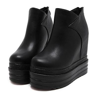 voordelige Dameslaarzen-Dames Laarzen Verborgen hiel PU Korte laarsjes / Enkellaarsjes Herfst winter Zwart