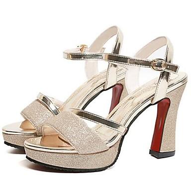 Kadın's Sandaletler Kalın Topuk PU Yaz Altın / Gümüş