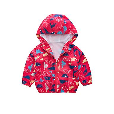 baratos Jaquetas & Casacos para Meninos-Infantil Para Meninos Básico Moda de Rua Estampado Estampa Colorida Estampado Padrão Casaco Trench Vermelho