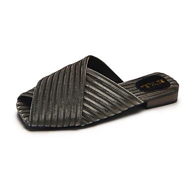 voordelige Damespantoffels & slippers-Dames Slippers & Flip-Flops Blok hiel Open teen Satijn Informeel Zomer Grijs / Leger Groen / Roze