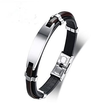 voordelige Herensieraden-Heren Lederen armbanden Klassiek Gelukkig Stijlvol Roestvast staal Armband sieraden Zwart Voor Dagelijks Werk
