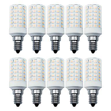 billige Elpærer-loende 10pack 7w ledet kornlys 100-265v 900lm e14 66leds led lampe smd5730 hvit / varm hvit