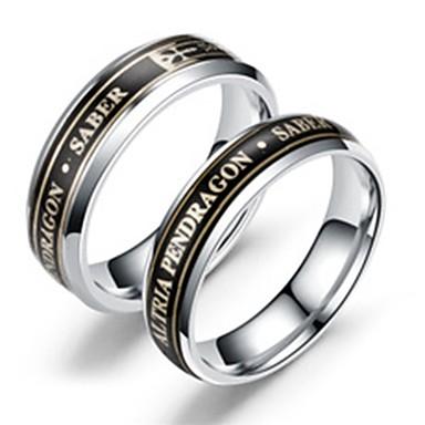 billige Motering-Herre Dame Band Ring Ring Tail Ring 1pc Svart Sølv Rustfritt Stål Titanium Stål Sirkelformet Klassisk Tegneserie Fest Daglig Smykker Bokstaver Kul Smuk