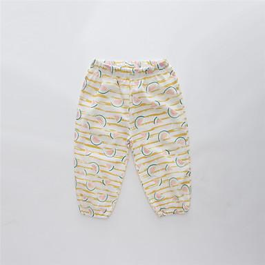 baratos Calças & Leggings para Meninas-Infantil Para Meninas Básico Moda de Rua Listrado Estampado Estampa Colorida Estampado Lã Calças Amarelo