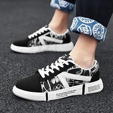 Unisex Spor Ayakkabısı Creepers Yuvarlak Uçlu Kanvas Günlük Yürüyüş Yaz Siyah / Beyaz / Gökküşağı