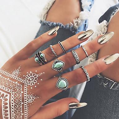 billige Motering-Dame Nail Finger Ring / Ring Set / Midi Ring Turkis 8pcs Gull Legering Rund Bohemsk / Søt / Mote Bryllup / Fest / Gave Kostyme smykker / Hjerte