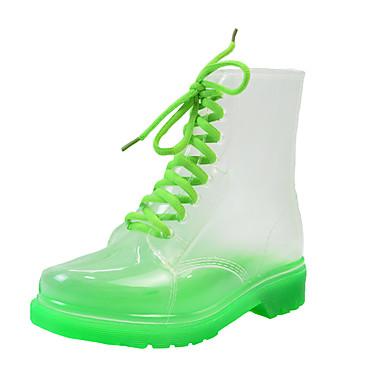 voordelige Dameslaarzen-Dames Laarzen Blokhak Ronde Teen PVC Kuitlaarzen Informeel Zomer Groen / Oranje / Geel / Kleurenblok