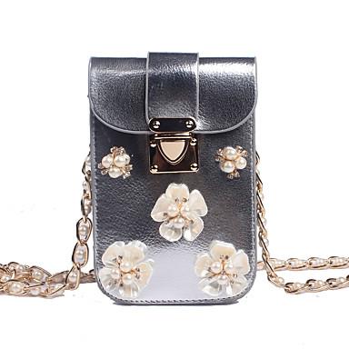 abordables Sacs-Fille Détail Perle / Fleur PU Mobile Bag Phone Couleur unie Dorée / Argent / Automne hiver