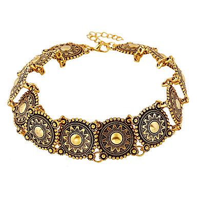 billiga Halsband-Dam Grön Halsband Oval Petal Ljuv söt stil Krom Guld 31 cm Halsband Smycken 1st Till Bröllop Förlovning Nattklubb Festival