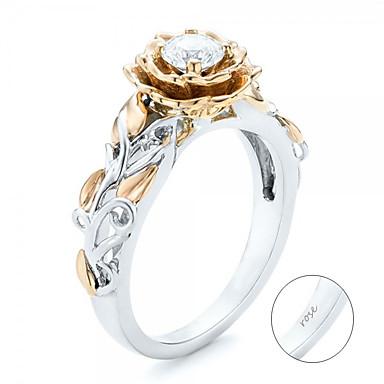 billige Motering-personlig tilpasset Klar Kubisk Zirkonium Klassisk Ring trendy Romantikk Gave Love Festival Geometrisk Form 1pcs Sølv