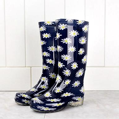 voordelige Dameslaarzen-Dames Laarzen Lage hak PVC Kuitlaarzen Lente Wit / Blauw