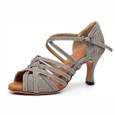 baratos Super Ofertas-Mulheres Náilon / Sintéticos Sapatos de Dança Latina Salto Salto Cubano Personalizável Prata / Azul