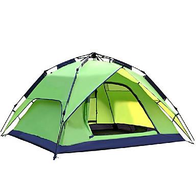 ieftine Corturi & Adăposturi-DesertFox® 3 persoane Cort Automat În aer liber Impermeabil Rezistent la Vânt Rezistent la UV Dublu Stratificat Cort de campare 2000-3000 mm pentru Camping & Drumeții Poliester 180*210*118 cm