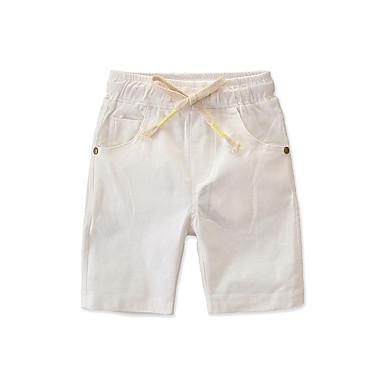 baratos Calças para Meninos-Infantil Bébé Para Meninos Activo Básico Sólido Cordões Algodão Shorts Branco