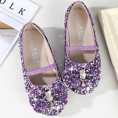 hesapli Kız Çocuk Ayakkabıları-Genç Kız Sentetikler Düz Ayakkabılar Küçük Çocuklar (4-7ys) / Büyük Çocuklar (7 yaş +) Çiçekçi Kız Ayakkabıları Taşlı / Fiyonk Mor / Mavi / Pembe Bahar