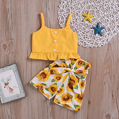 povoljno Kompletići za bebe-Dijete Djevojčice Osnovni Print Bez rukávů Kratka Komplet odjeće Bijela