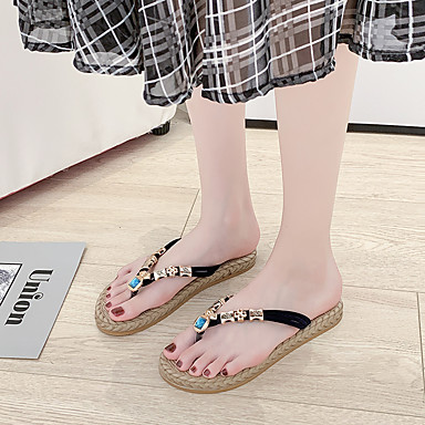 voordelige Damespantoffels & slippers-Dames Slippers & Flip-Flops Creepers Open teen PU Informeel Wandelen Zomer Zwart / Rood / Beige / Bruiloft