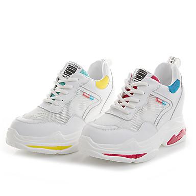 Kadın's Atletik Ayakkabılar Gizli Topuk Deri Koşu Bahar Beyaz / Sarı / Kırmzı
