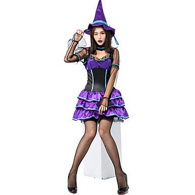 Cadı Kostüm Kadın's Peri Masalı Teması Cadılar Bayramı Performans Tema Partisi Kostümler Kadın's Dans kostümleri Polyester Dantel