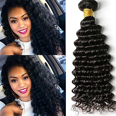 voordelige Weaves van echt haar-6 bundels Braziliaans haar Diepe Golf Onbehandeld haar Menselijk haar weeft Bundle Hair Een Pack Solution 8-28inch Natuurlijke Kleur Menselijk haar weeft Geurvrij Zacht Klassiek Extensions van echt