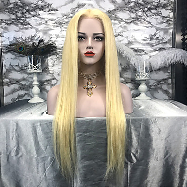 povoljno Perike i ekstenzije-Remy kosa Lace Front Perika stil Brazilska kosa Ravan kroj Crna Perika 130% Gustoća kose Žene Srednja dužina Perike s ljudskom kosom beikashang