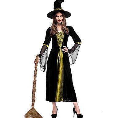 Cadı Kostüm Kadın's Peri Masalı Teması Cadılar Bayramı Performans Tema Partisi Kostümler Kadın's Dans kostümleri Polyester Malzeme Kombini