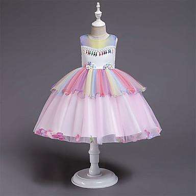 preiswerte Kleider für Mädchen-Kinder Baby Mädchen Aktiv Süß Regenbogen Patchwork Patchwork Ärmellos Knielang Kleid Grün