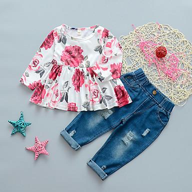 povoljno Kompletići za bebe-Dijete Djevojčice Osnovni Cvjetni print Drapirano Dugih rukava Regularna Komplet odjeće Blushing Pink