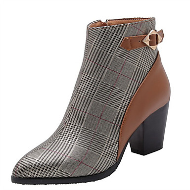 povoljno Ženske čizme-Žene Čizme Kockasta potpetica Krakova Toe Kopča PU Čizme gležnjače / do gležnja Jesen zima Crn / Braon / Color block