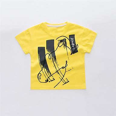baratos Camisas para Meninos-Infantil Para Meninos Básico Temática Asiática Estampado Bordado Estampado Manga Curta Algodão Camiseta Branco