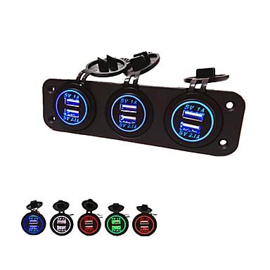 voordelige Automatisch Electronica-5v 3.1a autolader drie-gats paneel met 6 usb-poort waterdichte stroomadapters stopcontact